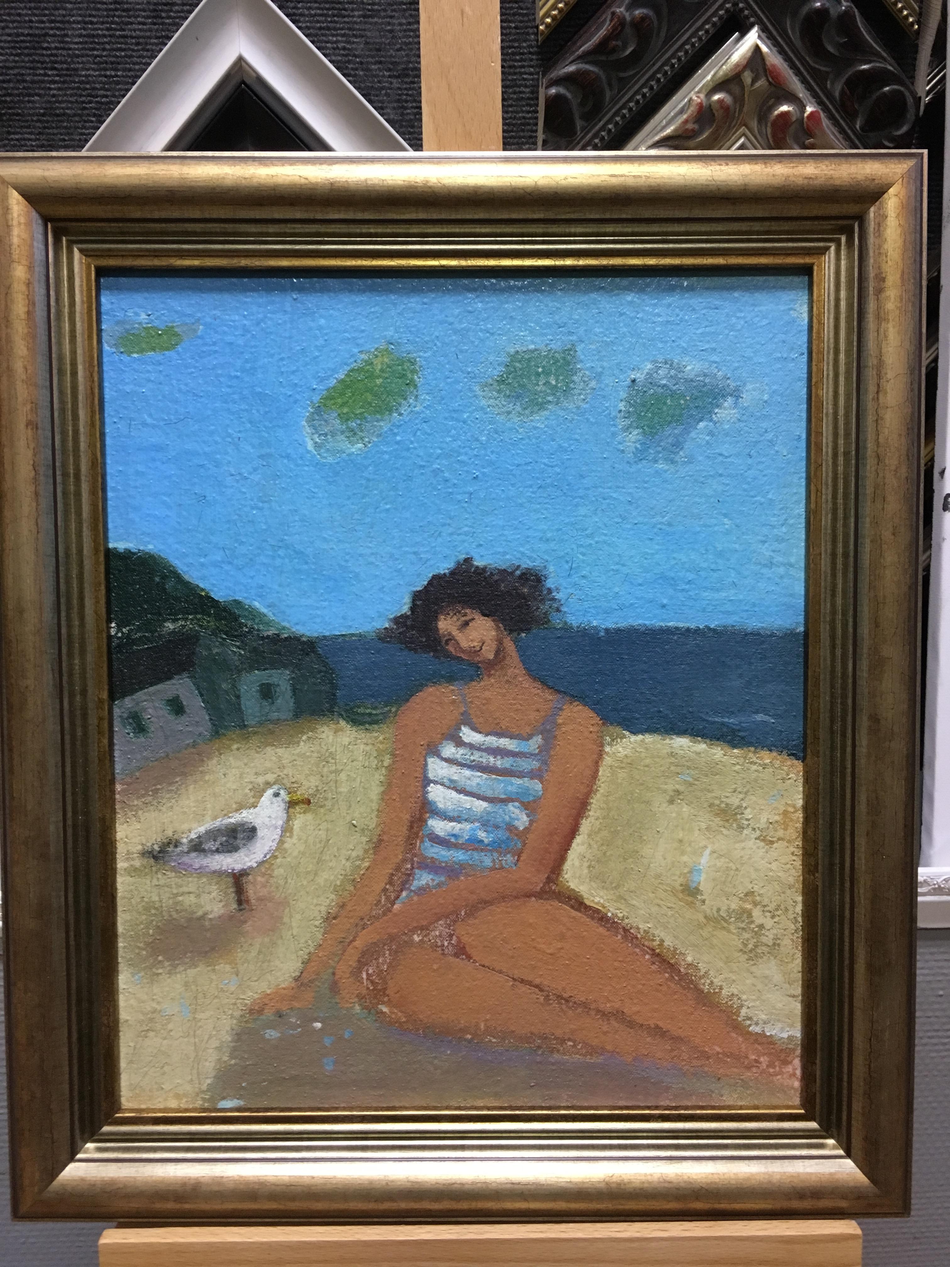 Девушка и море. Масло. Деревянный багет.