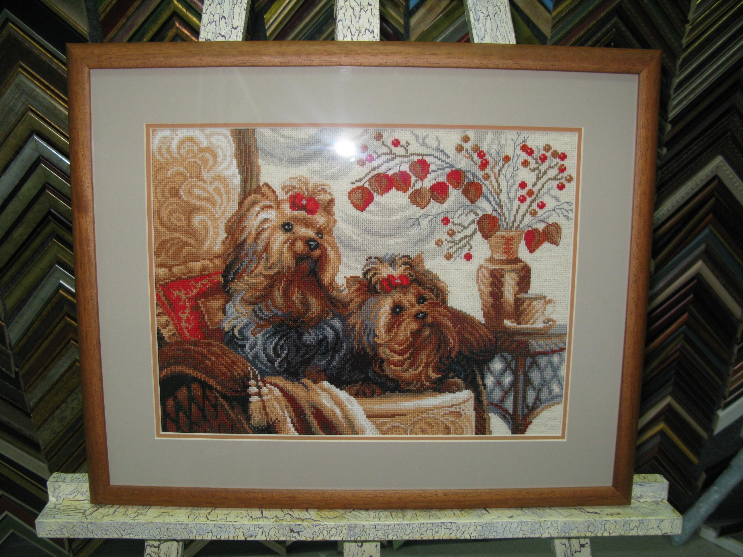 """""""Домашние любимцы""""от Riolis. Деревянный багет (Италия), двойное паспарту."""