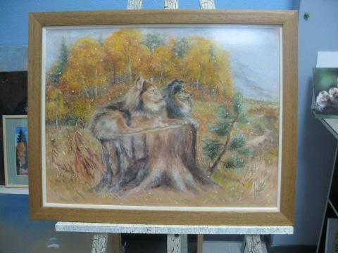Пастель «Собачья пара»
